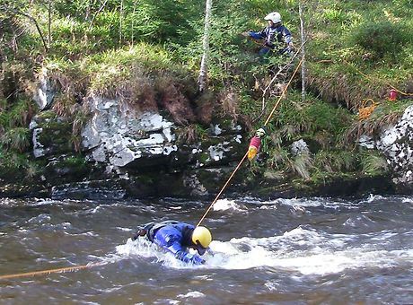 Stabilising line in place white water safety rescue