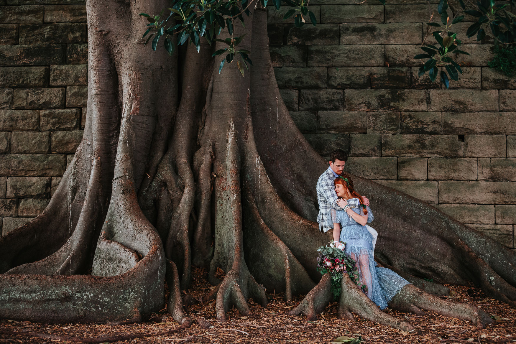 A couple eloping under a tree in Sydney.