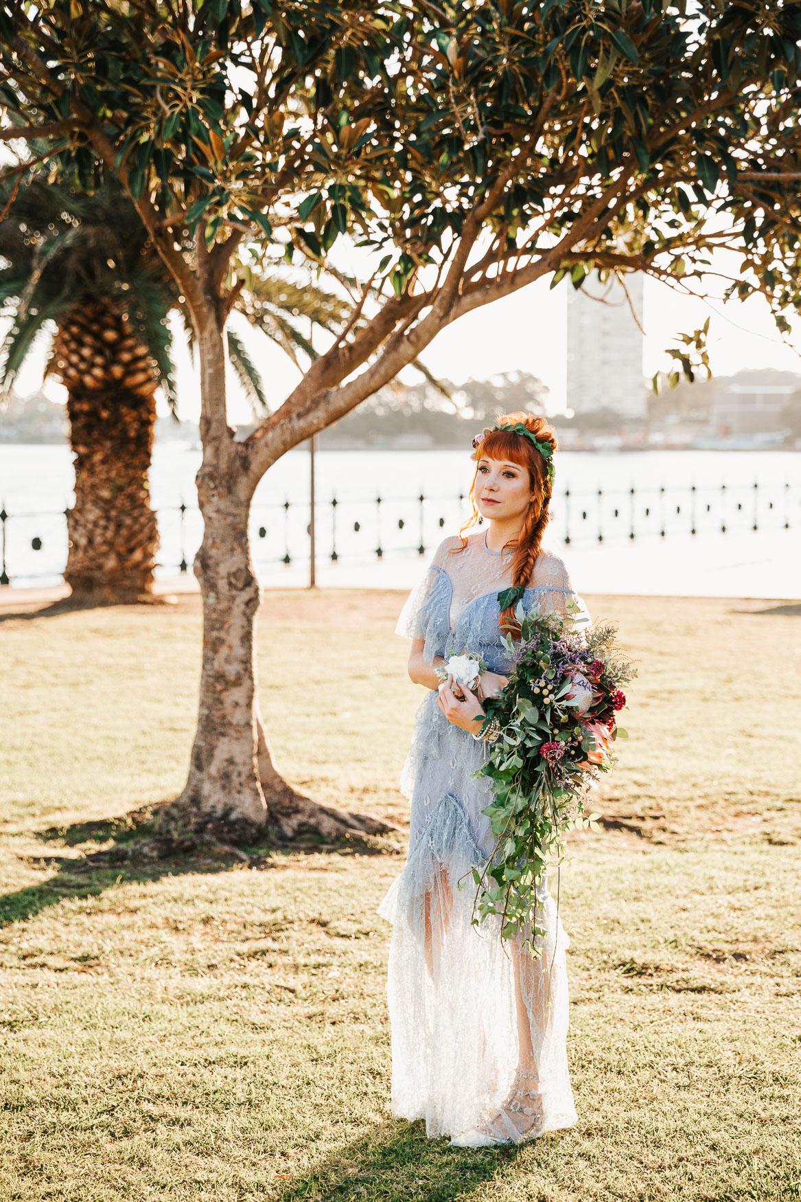 Sunset bride at elopement wedding in sydney