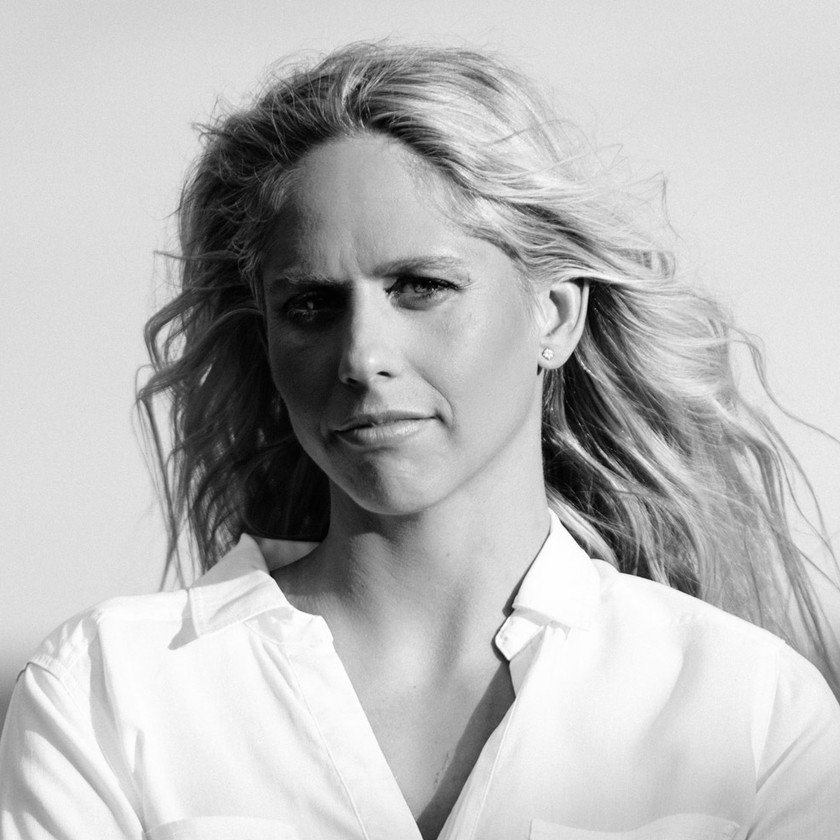 Corporate portrait photography of elite swimmer Chloe McCardel in black and white.