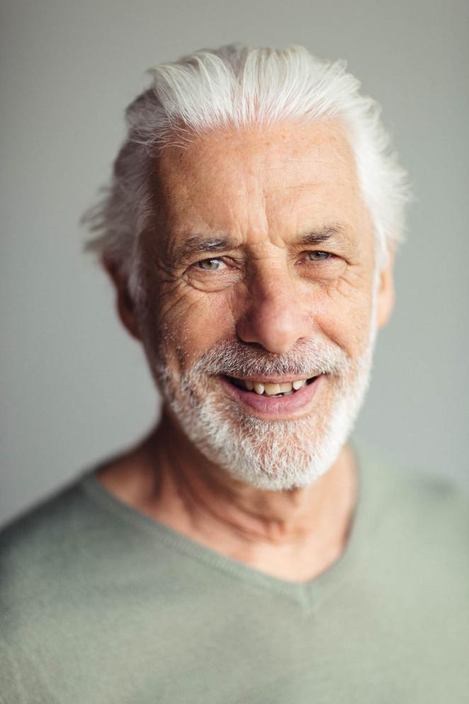 Sydney headshot photography of mature male Silverfox model Kevin Condon