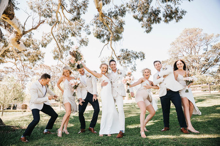 Sydney wedding photography of a fun bridal party at Mali Brae farm in the Southern Highlands.