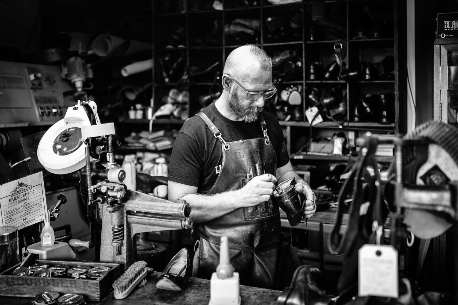 Sydney branding photography of a leather goods craftsman.