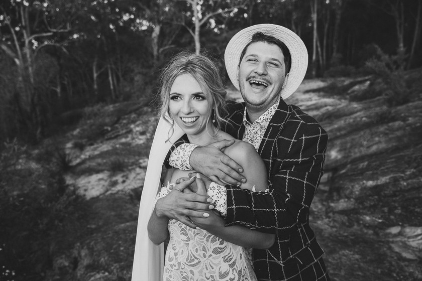 Candid wedding photography of a happy on location at the Blue Mountains.