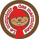 Logo du Comptoir des Marmottes. Une marmotte avec son bonnet et son écharpe rouge.