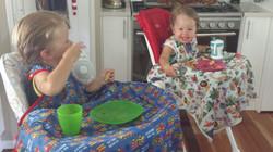 The boys having lunch.