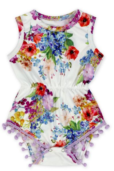 Pom Pom Romper - Colourful Flowers