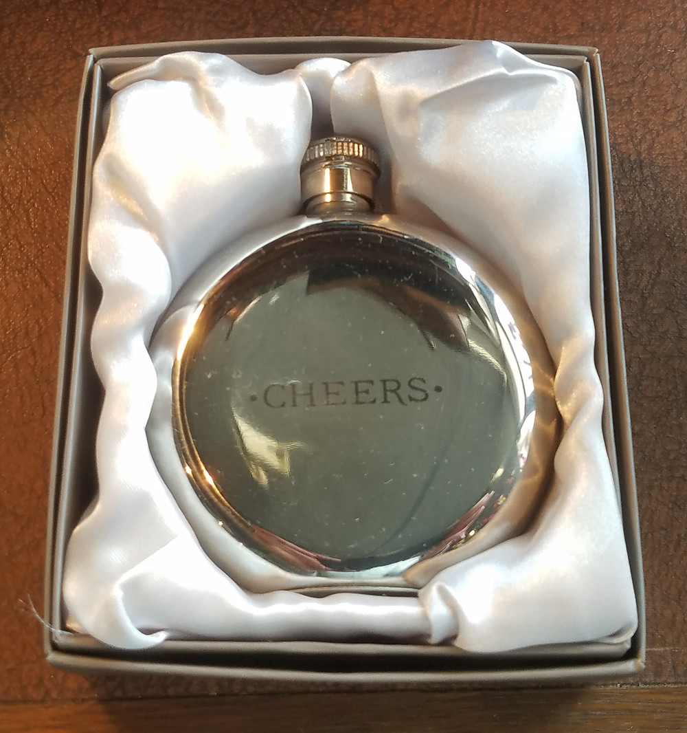 engraved flask cheers
