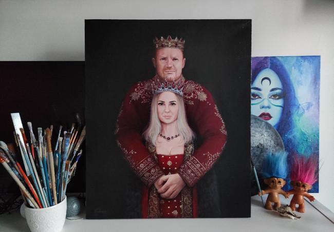 Портрет для родителей на холсте