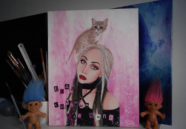 Портрет с котенком