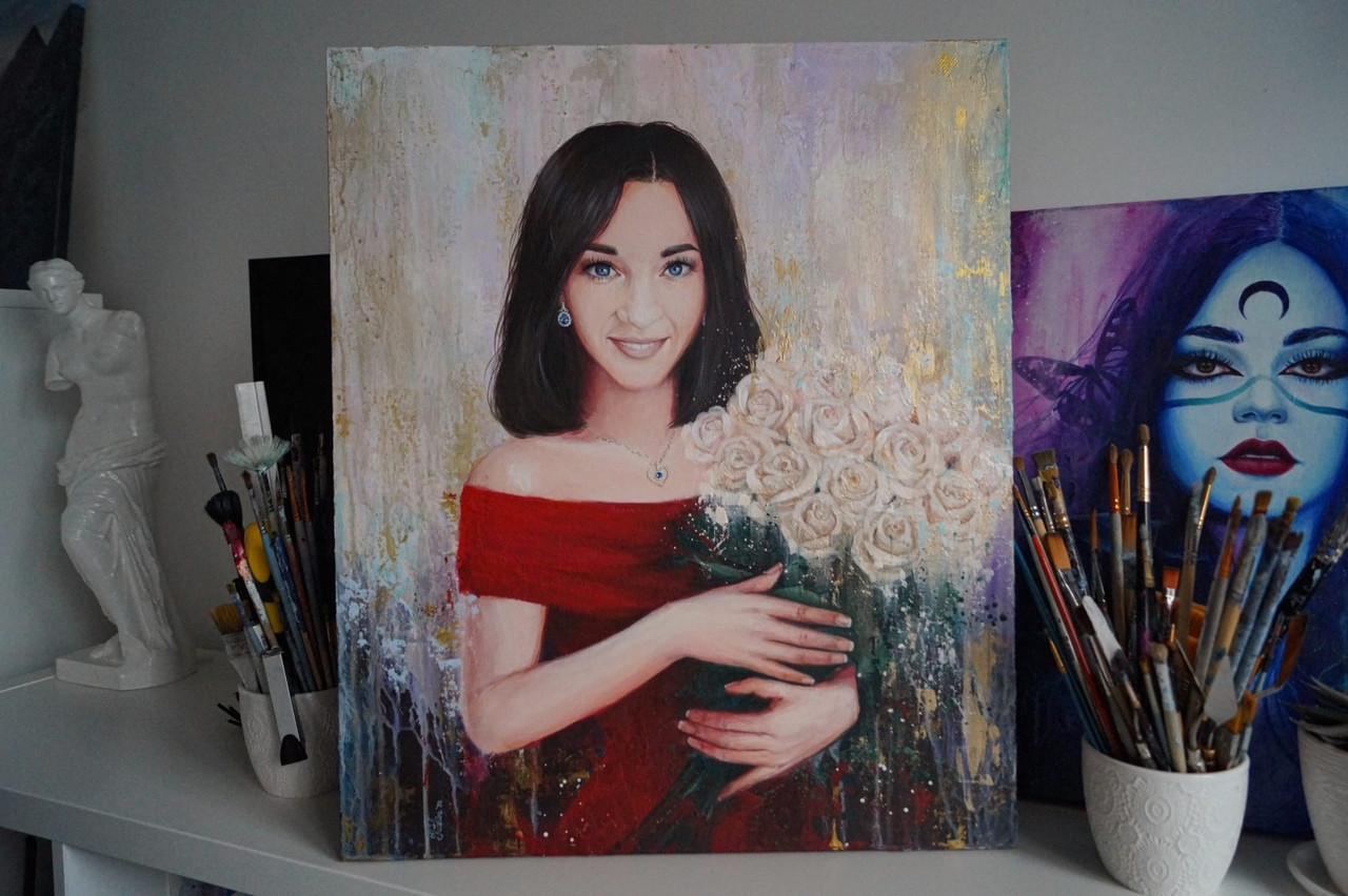 Портрет для девушки на холсте 50х60