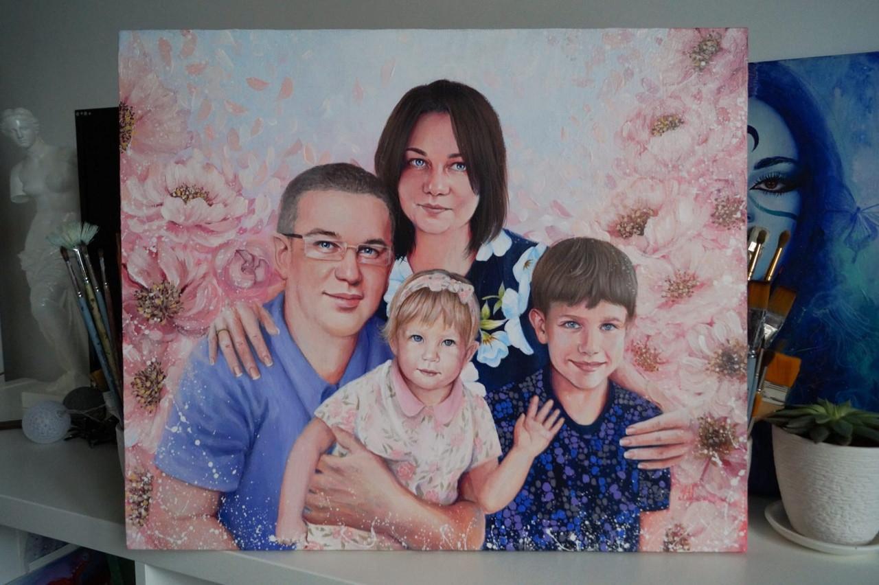 Семейный портрет с детьми и пионами