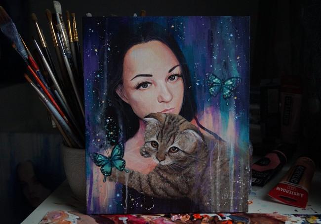 Портрет для тети с котиком 25х30