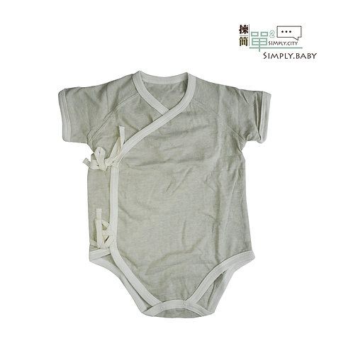 有機棉初生BB透氣短䄂和尚夾衣(竹綠) Organic Cotton BB Breathable Short Sleeve Side Snap Bodysuit