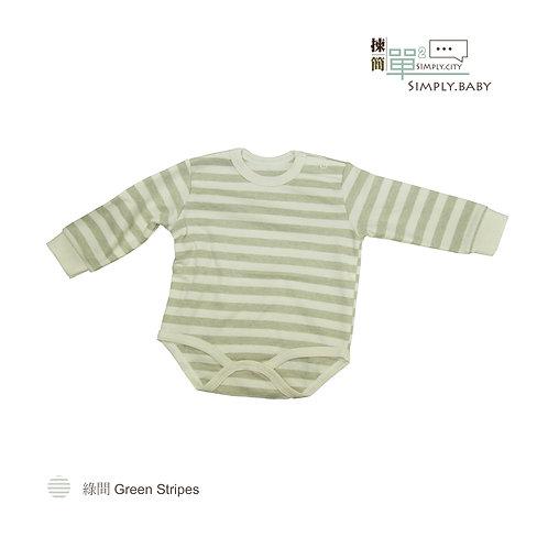 有機棉初生BB長䄂夾衣 (綠間) Organic Cotton Baby Long Sleeve Bodysuit