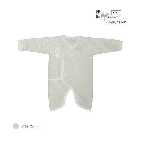 有機棉初生BB和尚夾衣 (竹綠) Organic Cotton Baby Side Snap Bodysuit (Green)