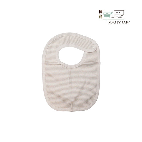 有機棉口水肩 (啡間) Organic Cotton Baby Bib (Brown Stripes)