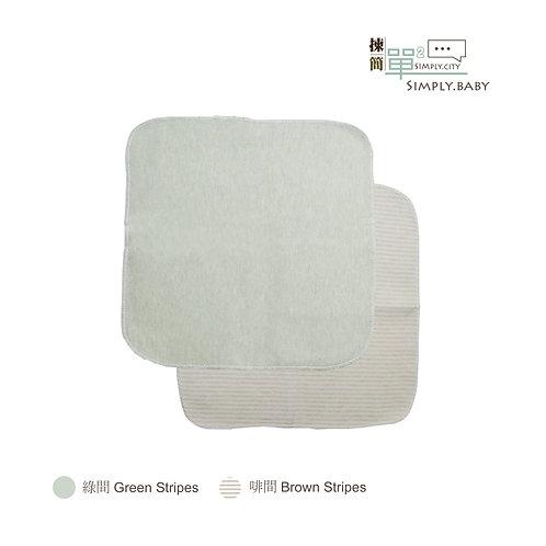 有機棉BB小方巾 (竹綠+啡間) Organic Cotton Baby Handkerchief (Green+Brown Stripes)