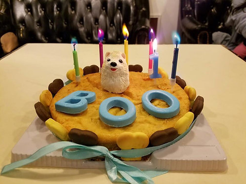 Chicken & Apple Dog birthday Cake with figure of your dog