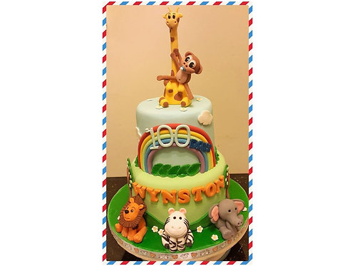 100 days celebration zoo themed cake(enquiry for price)