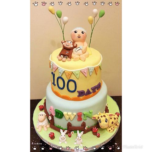 Farm themed 100 days cake(enquire for price)