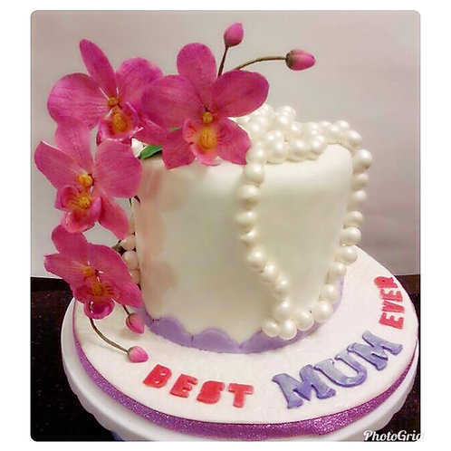 Birthday cake with Sugar flower Orchid(Enquire for price)
