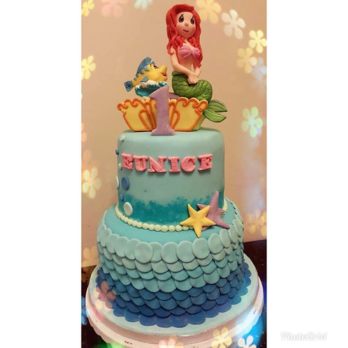 Tailormade Precious Moments themed Mermaid Cake(Enquire for price)