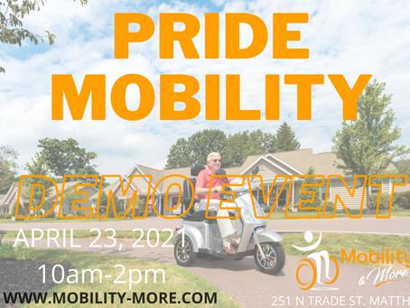 Mobility & More Pop Up Pride Mobility DEMOS Event April 23rd