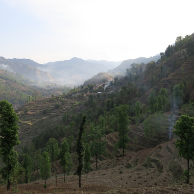View across to Taar village and kamal's house 'Misty Valley'.