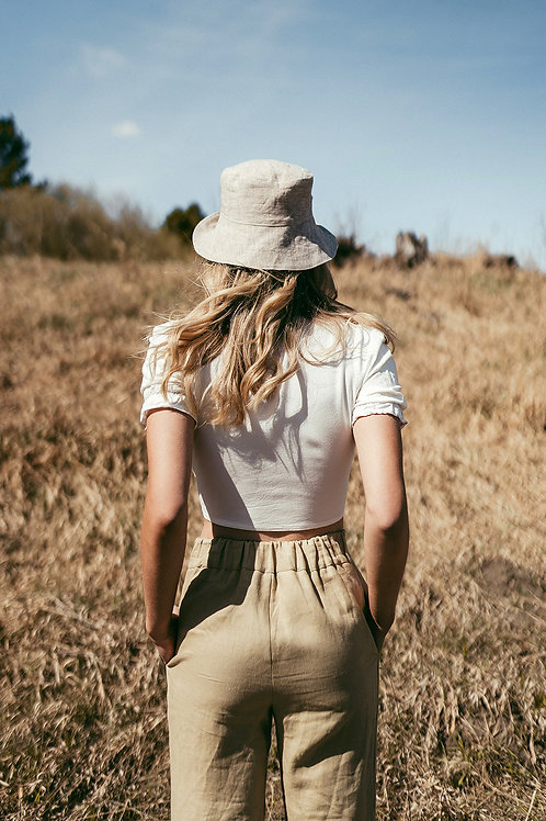 Linen Reversible Bucket Hat
