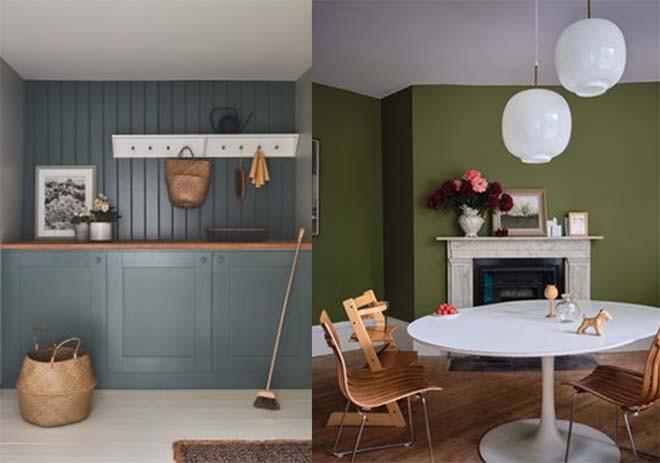 Light Blue No. 22 Modern Emulsion & Green Smoke No. 47 Modern Eggshell (links) Sap Green W56 Estate Eggshell (rechts)
