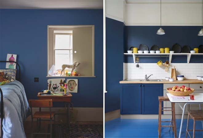 Ultra Marine Blue W29 Modern Emulsion (links) en Stiffkey Blue No. 281 Modern Emulsion (rechts)