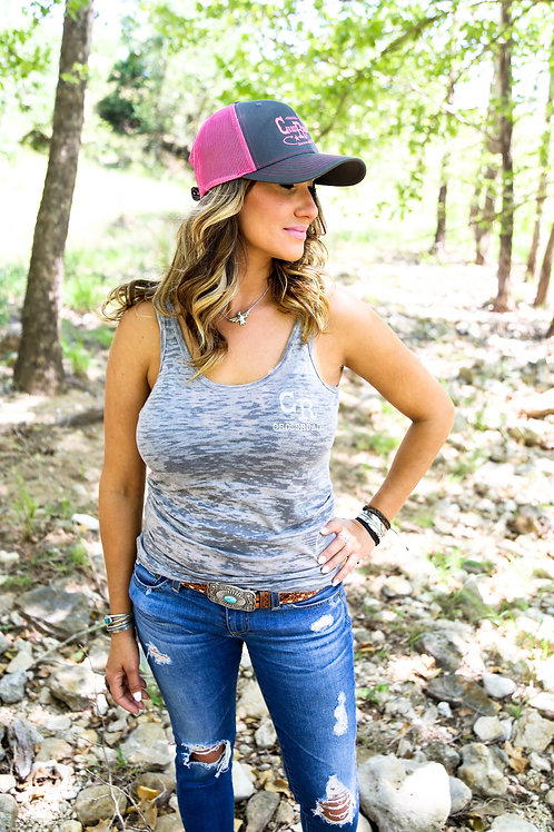 Grey and Pink Cow Skull Trucker Hat