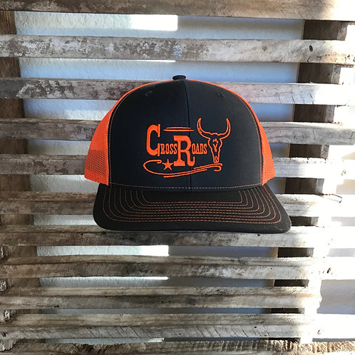 Grey and Orange Cow Skull Trucker Hat