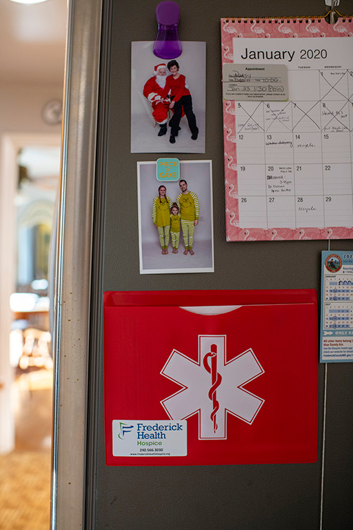 The red file folder on the refrigerator contains Mom's do-not-resuscitate (DNR) form. This instructs emergency medical personnel to not try to resuscitate Mom if anything happens.