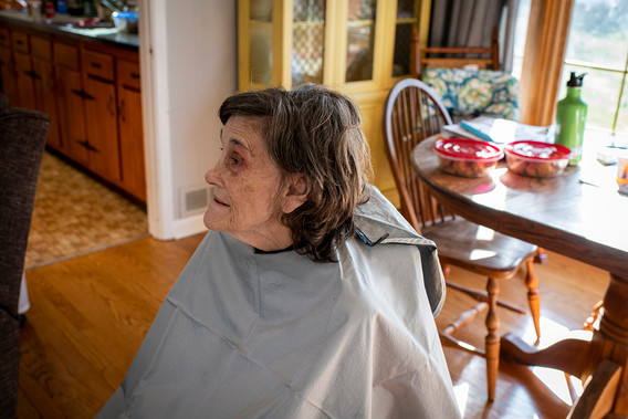February 14, 2020 Valentine's Day  On Valentine's Day, Mom got her first haircut in a long time from a hospice volunteer.