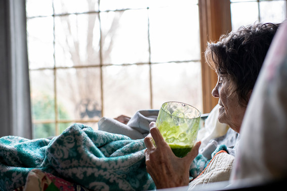 January 23, 2020  Suddenly, Mom was smiling and looking radiant as she drank her super green juice and gazed out the window.