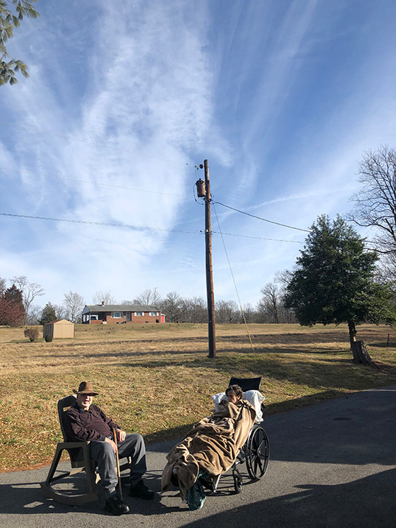 February 3, 2020  It was a warm day so I made my parents go outside to sit in the warm sunshine. Mom did not like the idea but went ahead, anyway.