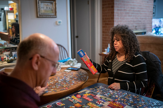 Gloria warmed our hearts by coming frequently to do intercessory prayers. She also helped Dan with the jigsaw puzzle.