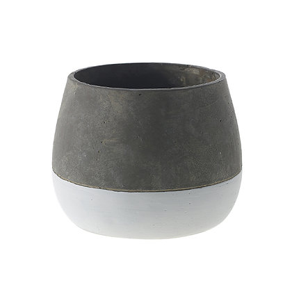 Matera en cemento con base blanca