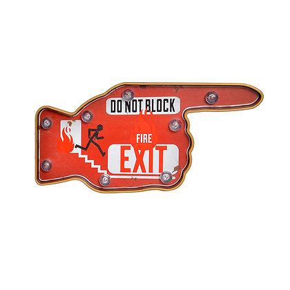 Letrero mano exit rojo