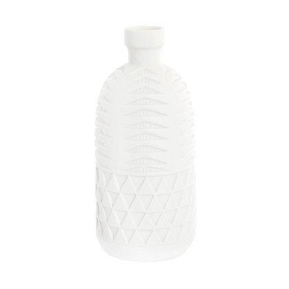 Jarrón blanco relieve geométrico