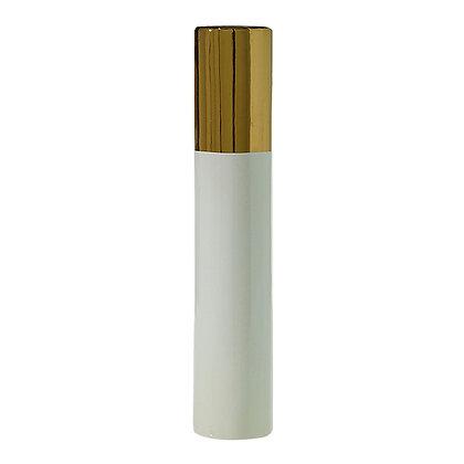 Florero blanco con punta dorada grande
