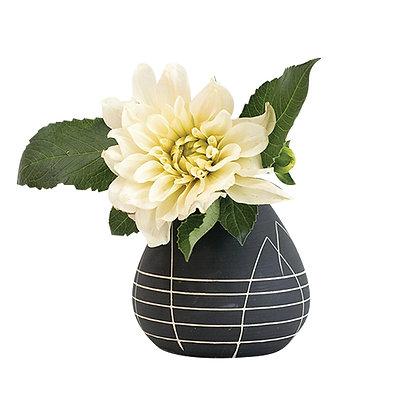 Florero Negro Rayas Blancas pequeño