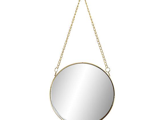 Espejo redondo cadena dorada