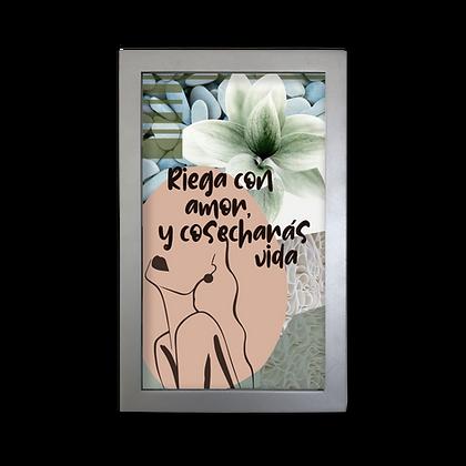 Caja vidrio Riega con  amor