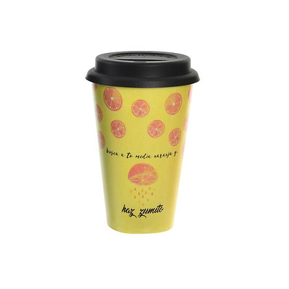 Mug amarillo con tapa