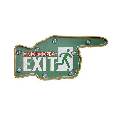 Letrero mano exit verde