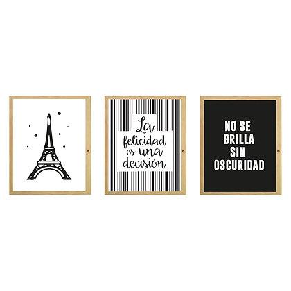 Cuadros Tríptico Torre Eiffel