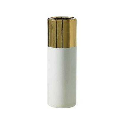Florero blanco con punta dorada pequeño